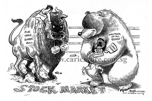 In the stock market, you will usually encounter cases like this, whereby the bull and the bear fighting.