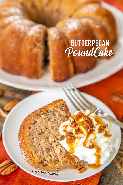 Butter Pecan Pound Cake - only 5 ingredients! Butter pecan cake mix, water, oil, eggs and a can of coconut pecan frosting. I couldn't believe how delicious this cake tasted. Can make a few days in advance and store in an air-tight container. Great for your holiday meal! #cake #bundtcake #dessert #thanksgiving #christmas