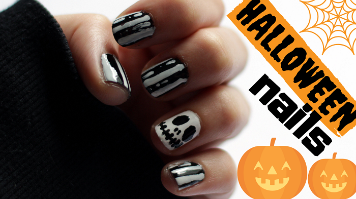 Halloween Nail Art For Beginers Diy Tutoral For Short Nails