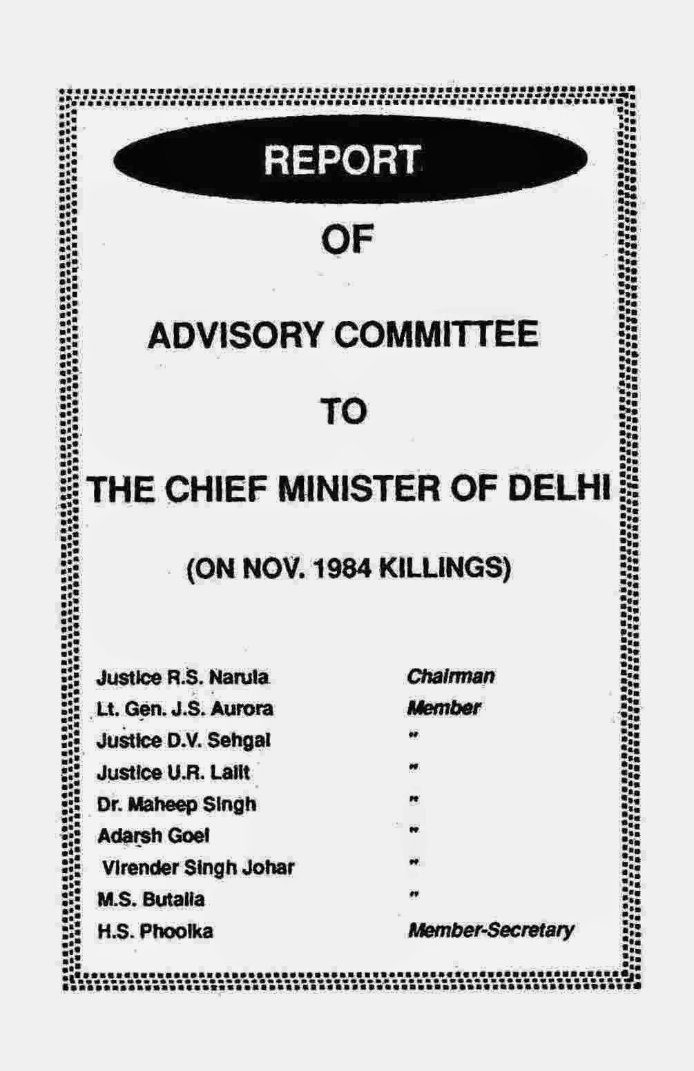 Report Of Advisory Committee To chief minister of delhi on Nov 1984 killings