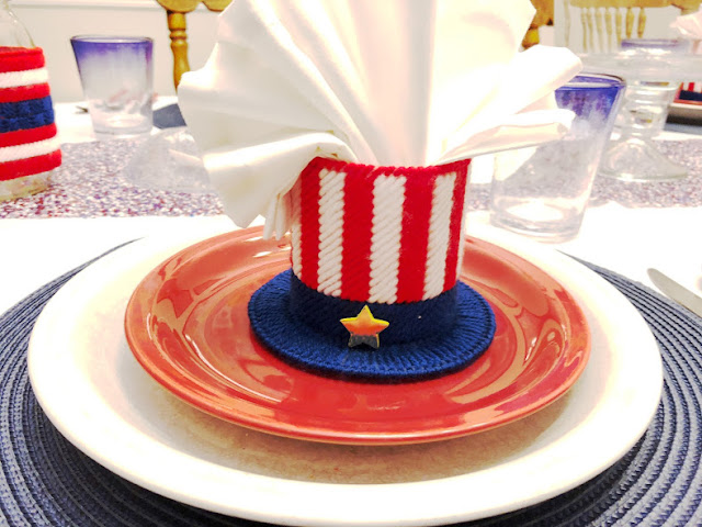 Uncle Sam hat Plastic Canvas Pattern as a Napkin Holder at our 4th of July Patriotic Breakfast Party