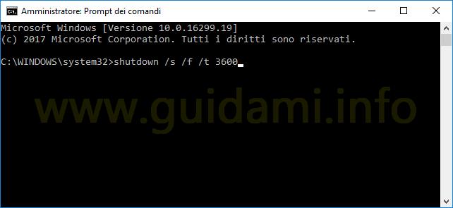 Prompt dei comandi comando per programmare spegnimento PC