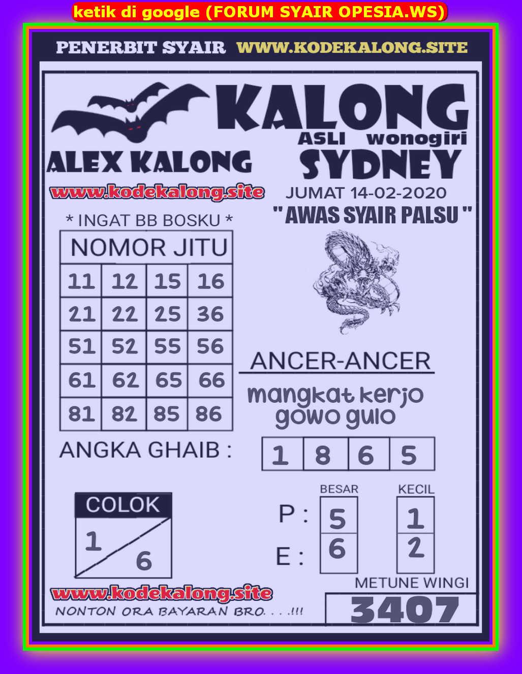 Kode syair Sydney Jumat 14 Februari 2020 68