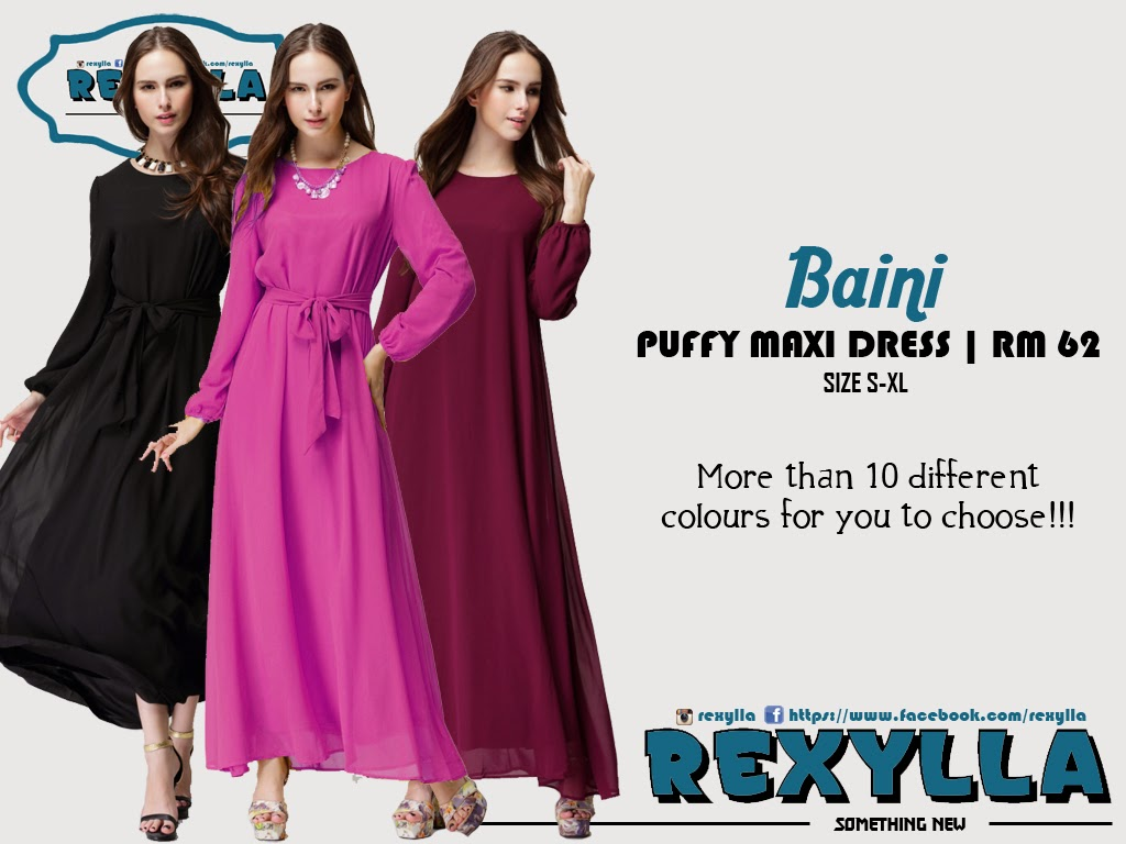 rexylla, maxi dress, puffy, baini collection
