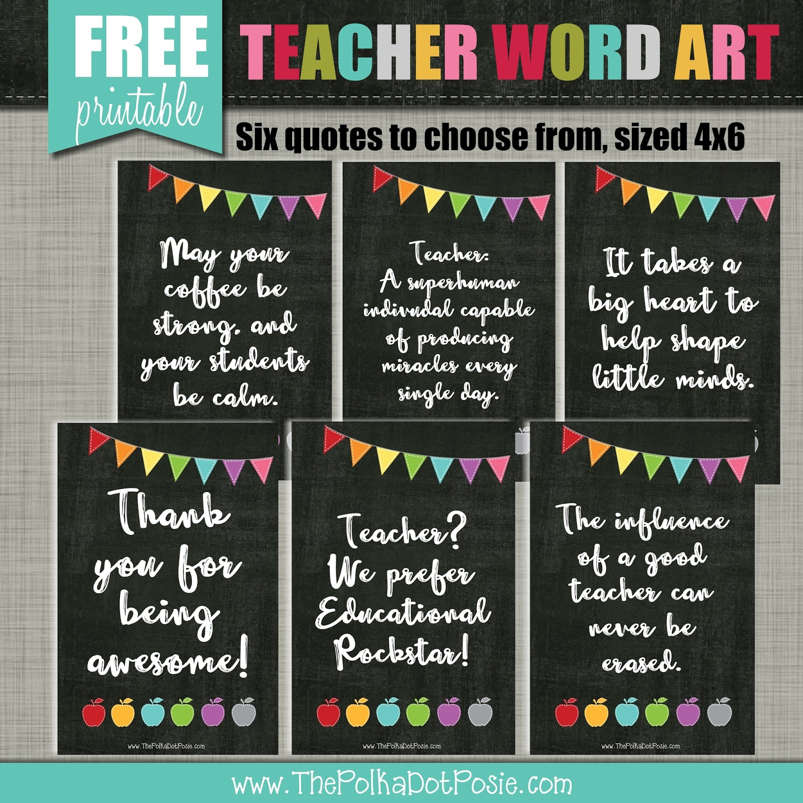 photograph relating to Free Printable Teacher Appreciation Quotes called The Polka Dot Posie: Order Geared up for Trainer Appreciation 7 days!