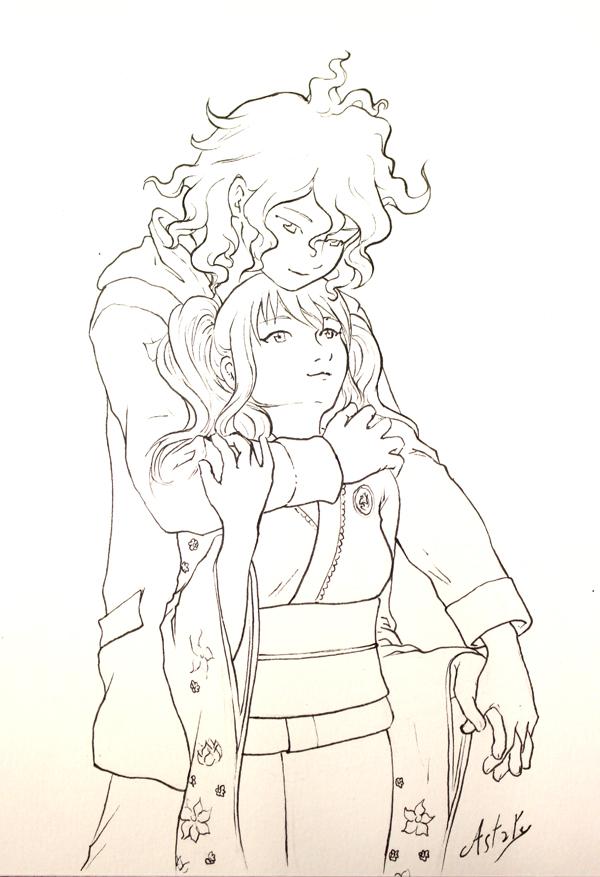 un ptit couple - dessin manga encré