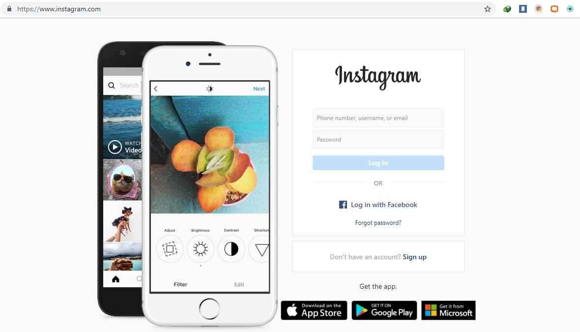 Login Instagram melalui komputer
