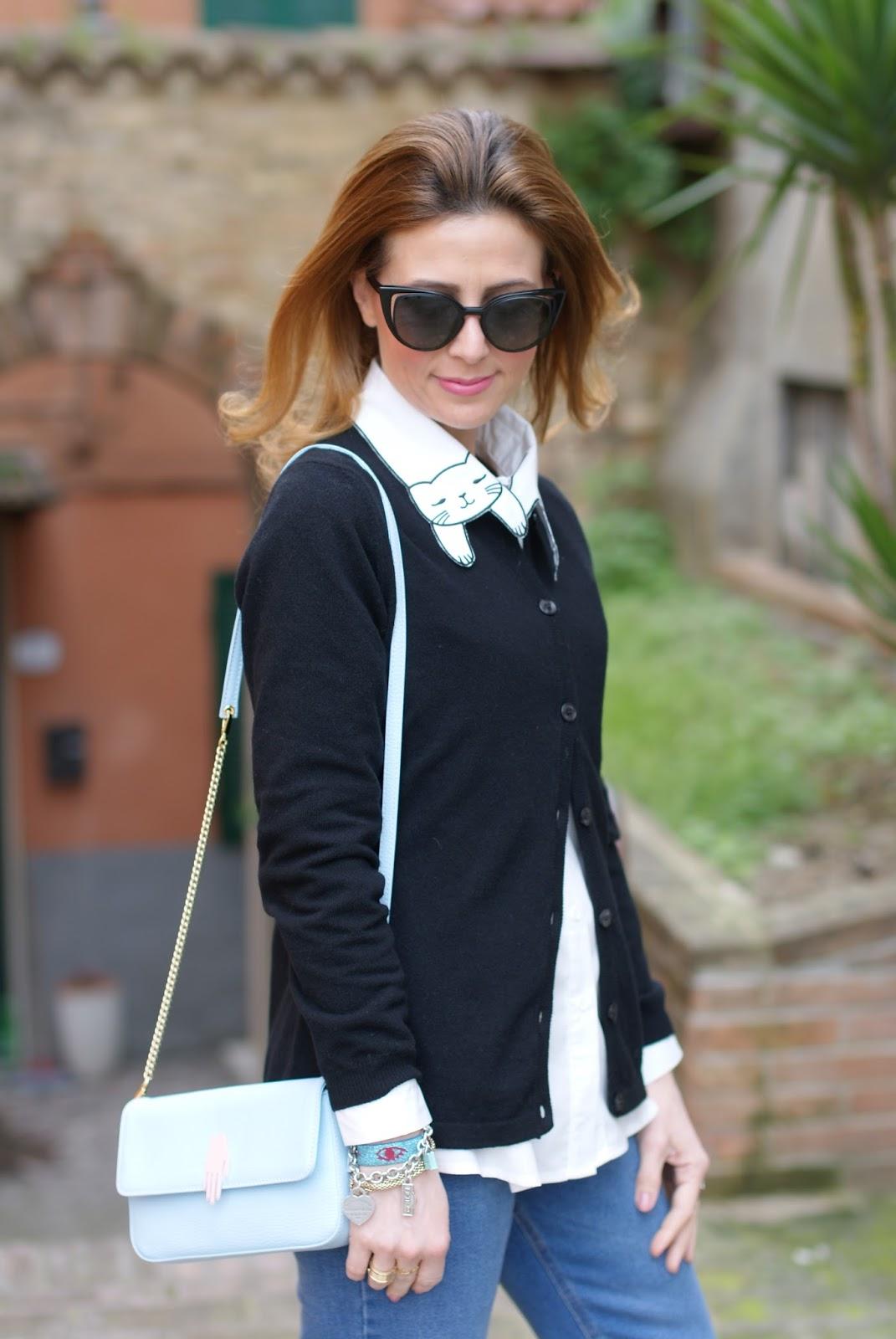 White cat collar shirt, black plain cardigan on Fashion and Cookies fashion blog, fashion blogger style