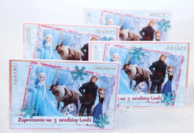 Frozen, kraina lodu, zaproszenia urodzinowe, dla dziewczynki, dla dziecka , Anna i Elza