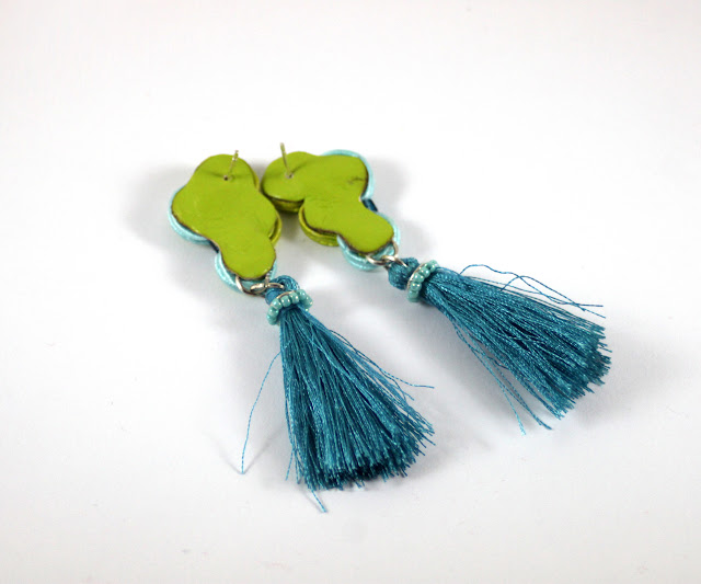 back of soutache, tassels soutache earrings, Lime, turquise,