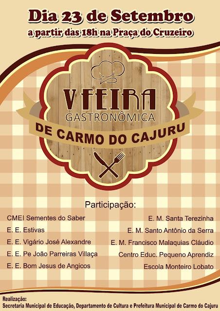 Venha participar da V Feira Gastronômica de Carmo do Cajuru