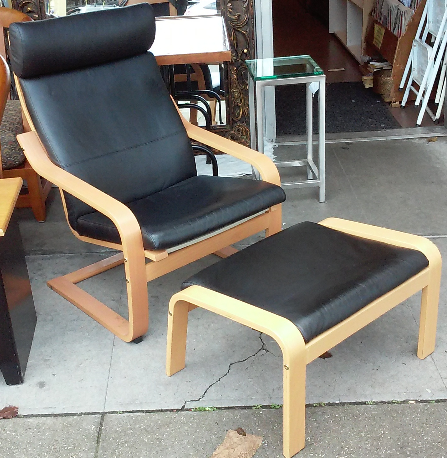 Uhuru Furniture Collectibles Sold Black Leather Poang Chair With Ottoman 135