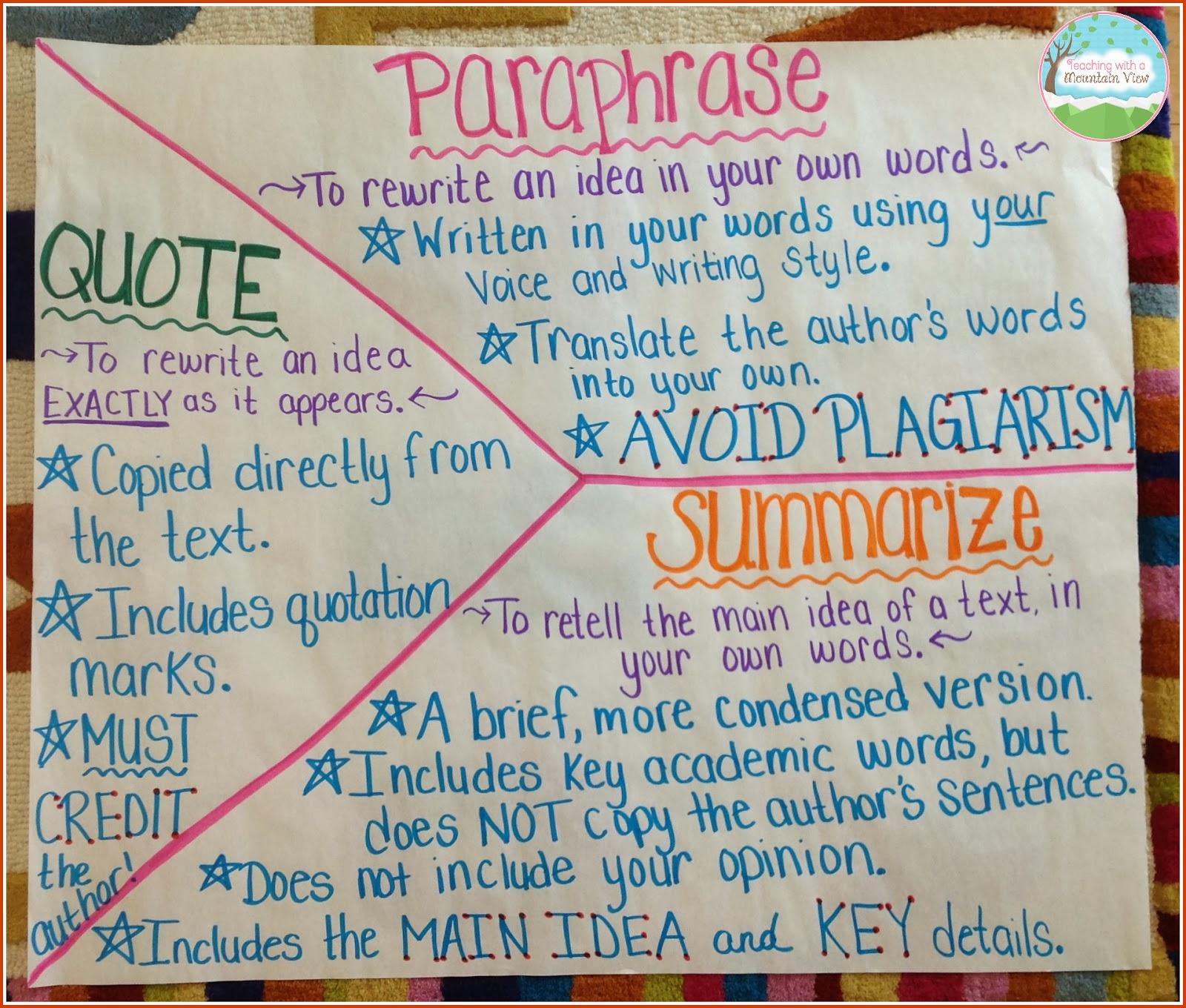 Teaching With A Mountain View Summarizing Paraphrasing