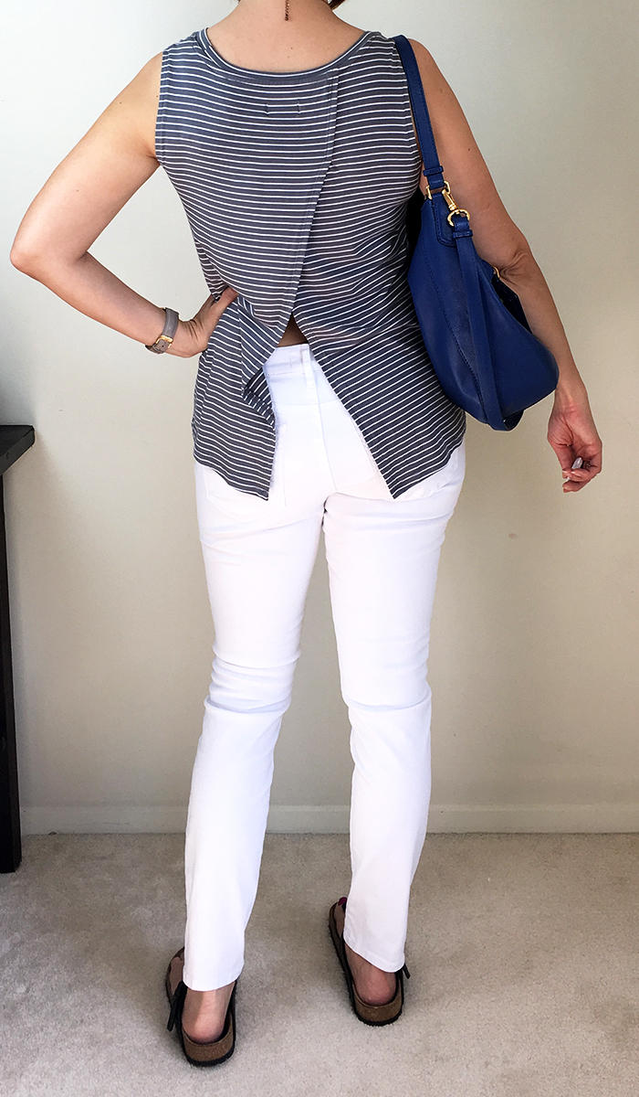 Looks Good from the Back: Adrien: LOFT White Jeans Review and Outfit.