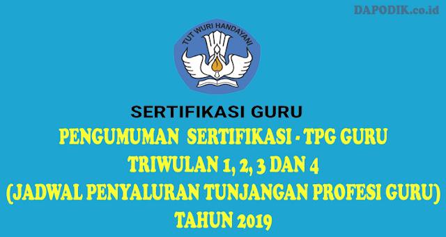 PENGUMUMAN SERTIFIKASI-TPG GURU TRIWULAN 1, 2, 3 DAN 4 (JADWAL PENYALURAN TUNJANGAN PROFESI GURU) TAHUN 2019/2020