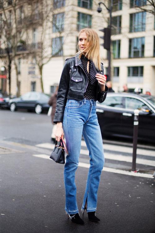 Street Style: Elena Perminova's High Waisted Jeans