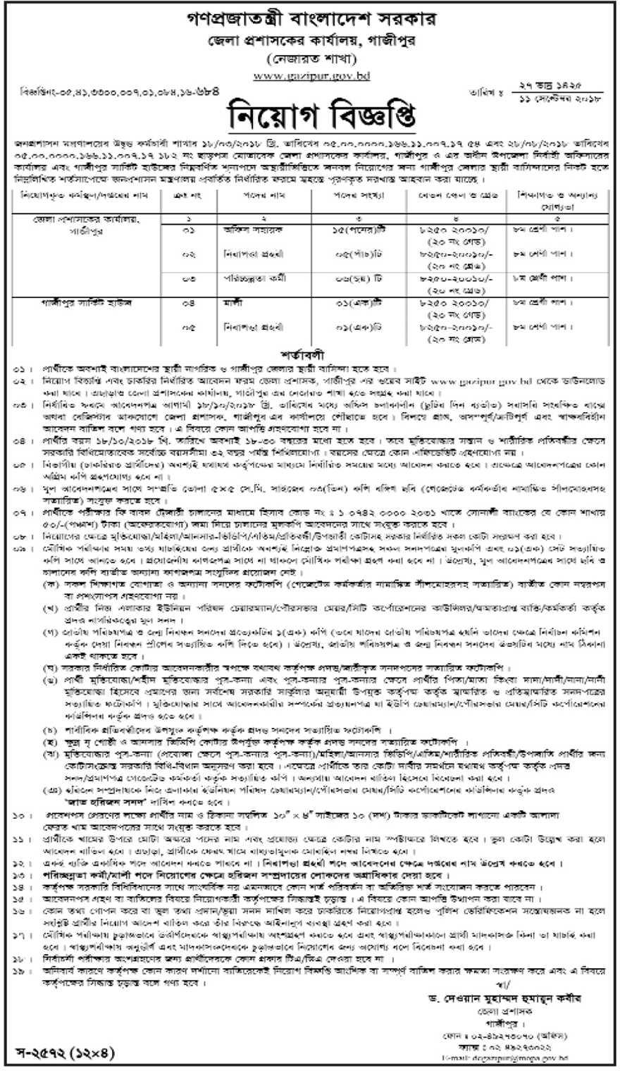 Gazipur District Job Circular 2018