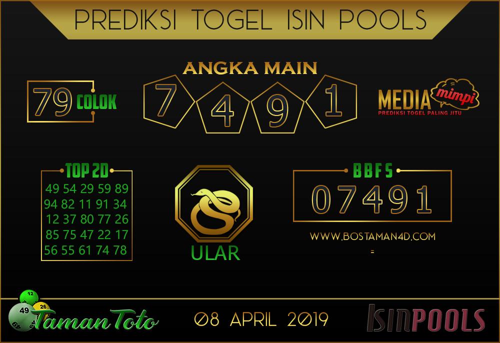 Prediksi Togel ISIN TAMAN TOTO 08 APRIL 2019