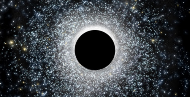 In this artist's illustration, an intermediate-mass black hole in the foreground distorts light from the globular star cluster in the background. New research suggests that a 2,200 solar-mass black hole resides at the center of the globular cluster 47 Tucanae. CfA / M. Weiss