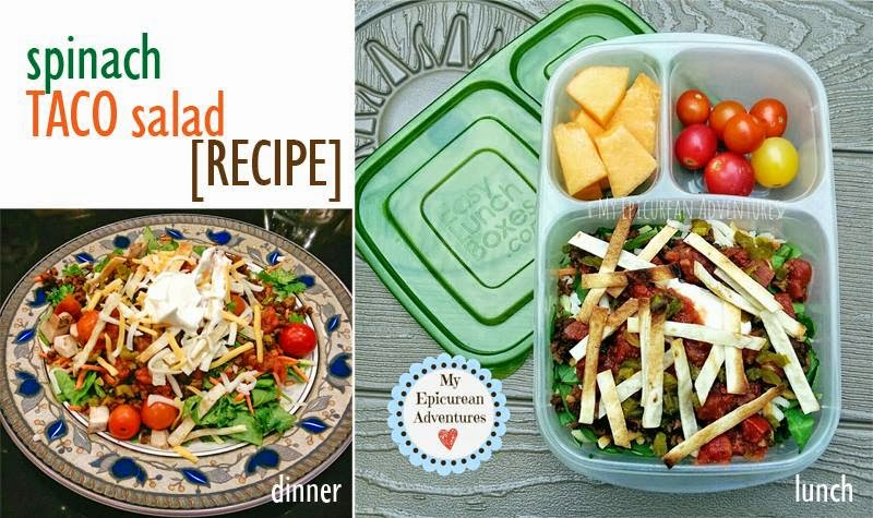 My Epicurean Adventures: Spinach Taco Salad for Lunch and Dinner in @easylunchboxes