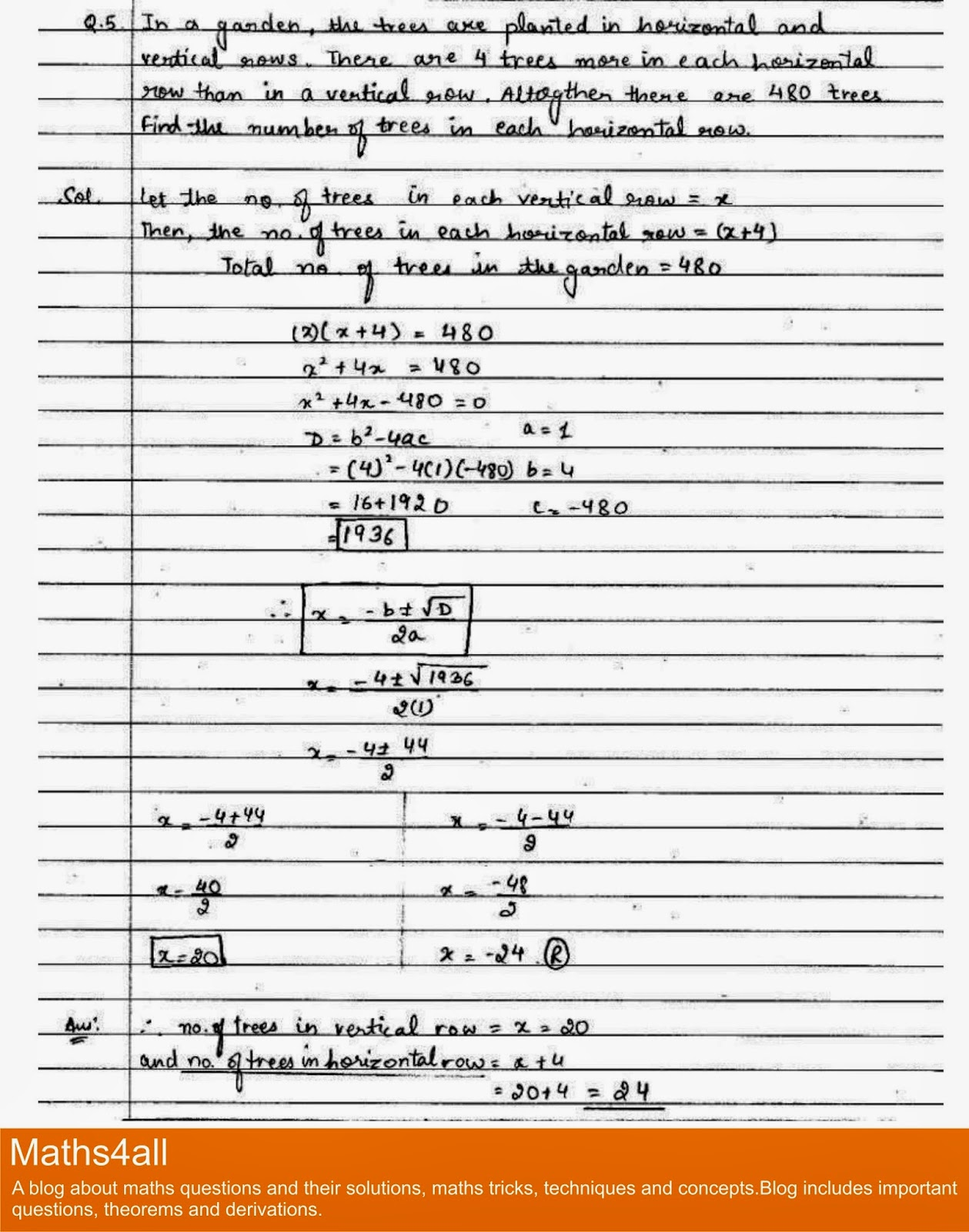 Maths4all Class X Quadratic Equation Important Question With Solution Word Problems Q 5