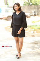 Actress Hebah Patel Stills in Black Mini Dress at Angel Movie Teaser Launch  0007.JPG