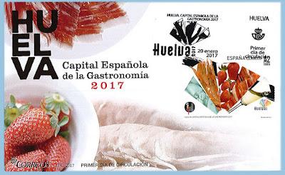 Filatelia - Huelva - Capital Española de la Gastronomía 2017 - Sobre Primer día de circulación