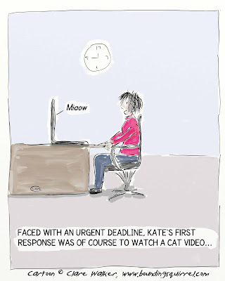 Cartoon shows a woman watching a cat video as the essential first step towards meeting her urgent deadline.