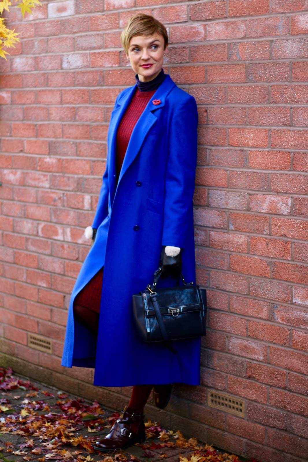 Cobalt Blue Long Coat, Burgundy Wool Dress | Autumn Outfit | Fake Fabulous