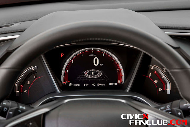 Honda Civic 10th Gen 2017 Interior Pictures - Futuristic Instrument Panel of Honda Civic X 2017