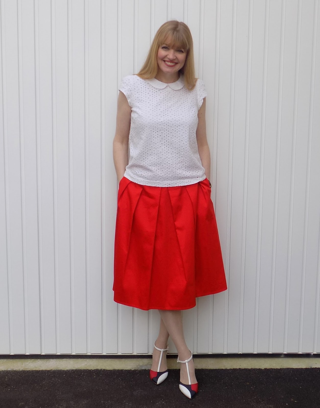 Gok Wan red midi skirt and colourblock heels