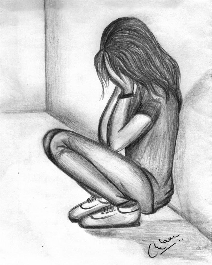 Sad Girl Crying Drawings