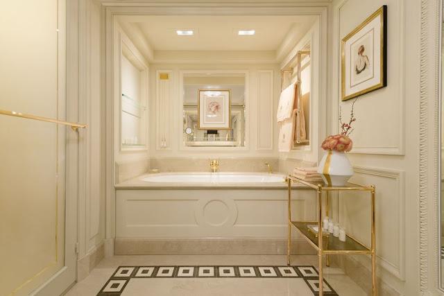 Breathtaking feminine romantic pink bathroom renovated Ritz Paris