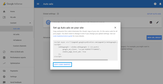 Get code auto ads google adsense