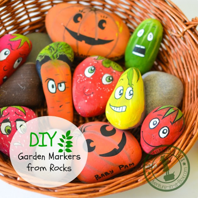 painted pebble planting markers