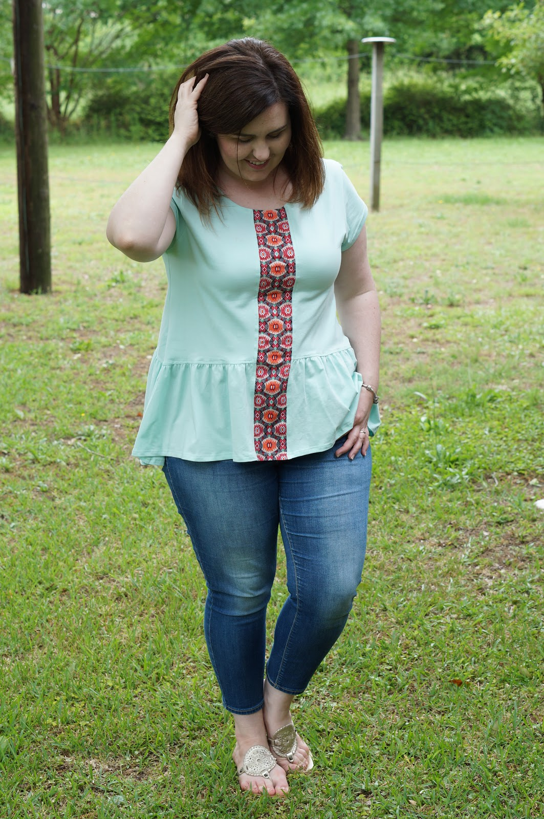 Rebecca Lately Elegantees Lynda Top Soft Turquoise Old Navy Rockstar Cropped Jack Rogers Georgica Platinum