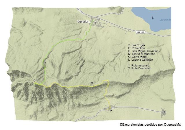 Mapa de excursión realizada por Excursionistas Perdidos, Scouts y Xalisco Outdoors Cerro Viejo, Agosto 2018