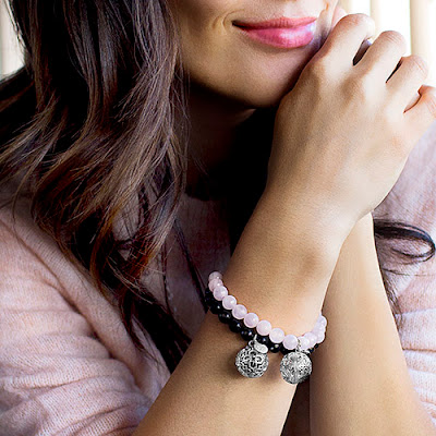 """LISA HOFFMAN FOR ORIGAMI OWL BLACK ONYX BEAD BRACELET 7"""" WITH SILVER FRAGRANCE PENDANT available at StoriedCharms.com"""