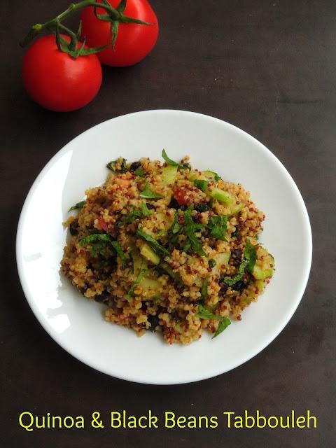 Quinoa & black beans tabbouleh salad