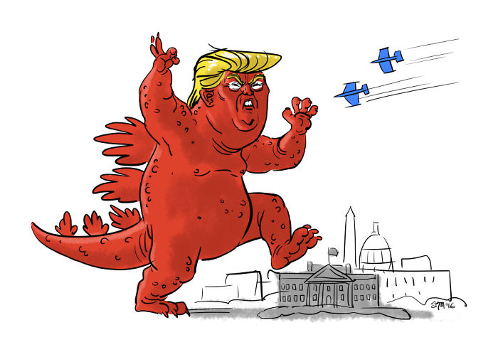 15+ Cartoonists Around The World Illustrate How They Feel About Trump Becoming President - Trumpzilla