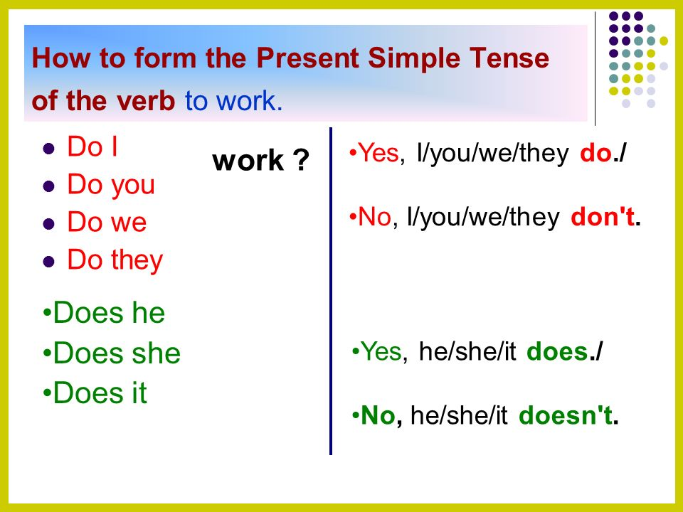 Present Simple on 6 Simple Present Exercises