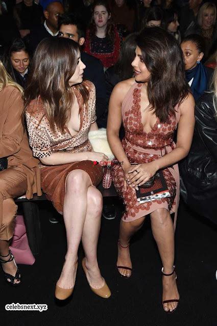 Priyanka Chopra is all brown in a deep neck beautiful dress at Bottega Veneta Show during NYFW ~  Exclusive 001.jpg