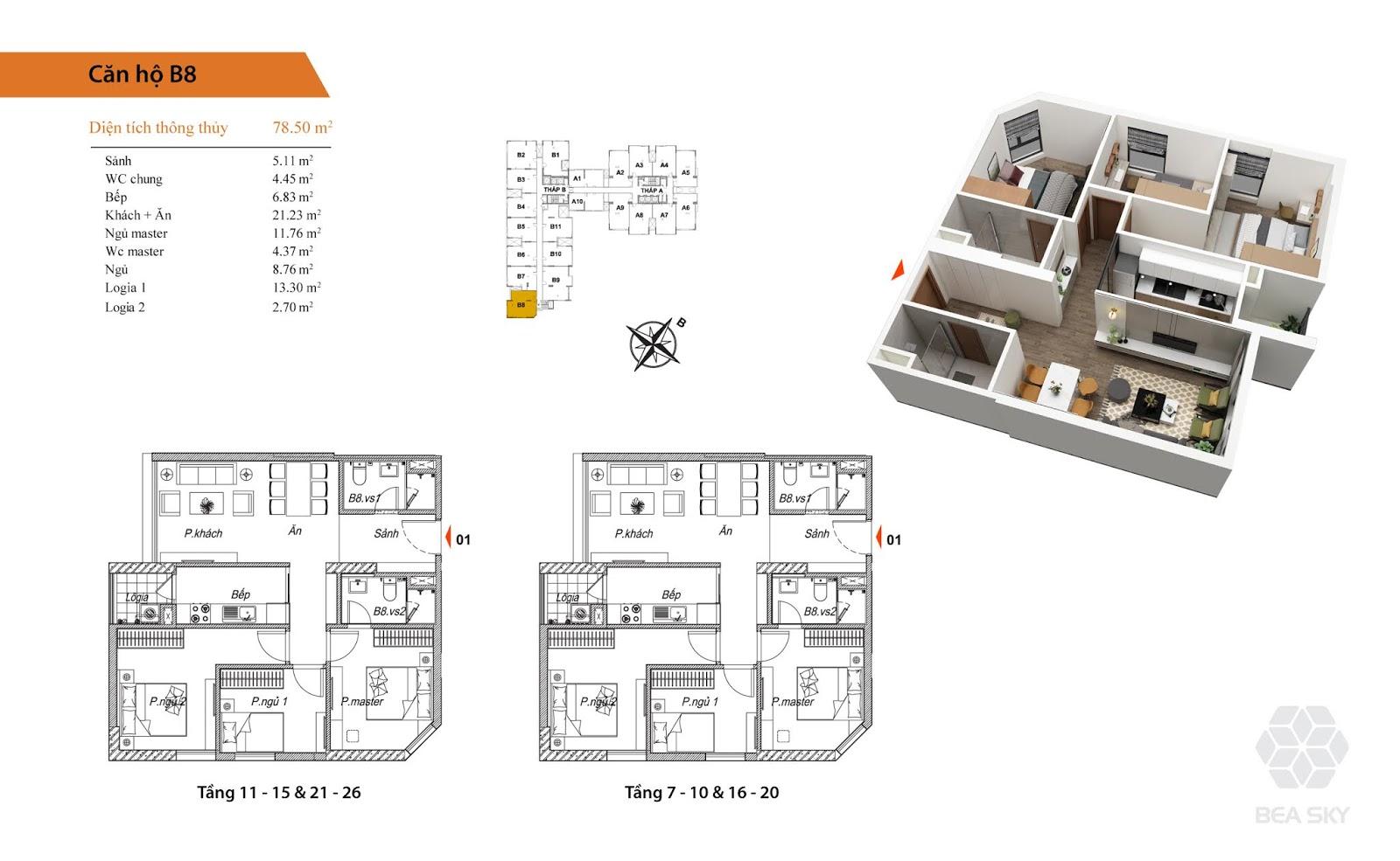 Thiết kế căn B8 chung cư Bea sky nguyễn xiển