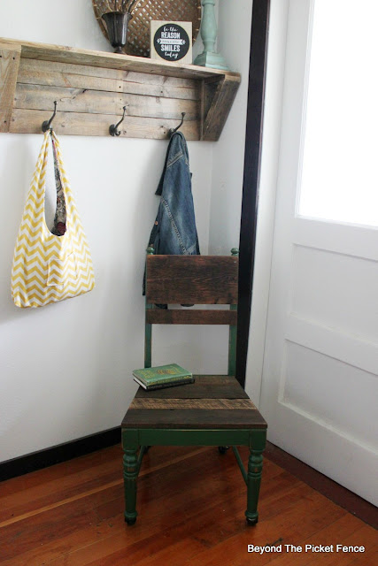rustic farmhouse style chair made with barnwood and paint