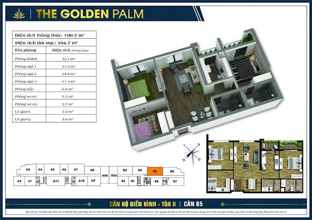 Thiết kế căn hộ B05 tòa B chung cư The Golden Palm