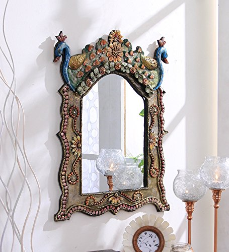 10)  999Store Vintage Hand Crafted Decorative Wood Wall Mirror (45.99 cm x 2 cm x 60.5 cm)