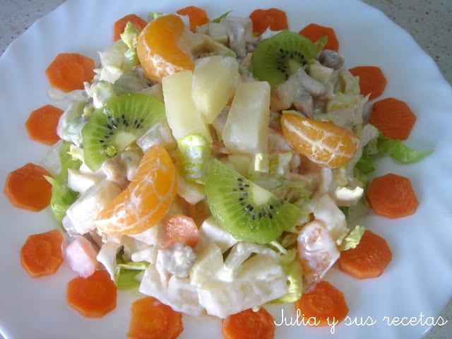 Ensalada de pollo tropical. Julia y sus recetas