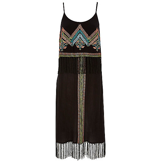 river island fringe dress, black fringed dress embroidered,