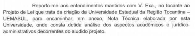 recho do ofício que encaminha Nota Técnica sobre o Projeto do Governador Flávio Dino