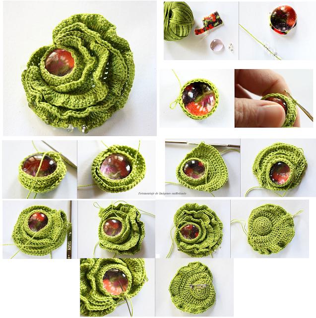 Como hacer Broche Flor de Crochet con Perla